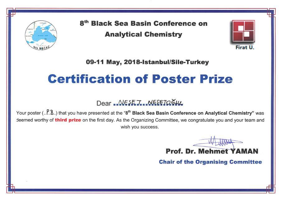 poster bbcac analitik kimya analytical chemistry ödül prize winner