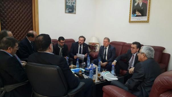 Tatvan Abdülmalik ben Saadi Üniversitesi Rektörü Huzeyfe Amziane, rektör yardımcıları, edebiyat fakültesi ve Usulüddin Fakültesi dekanları