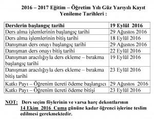 GÜZ YARIYILI KAYIT YENİLEME 2016-2017