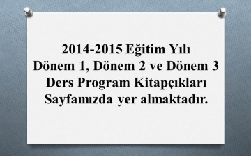 2014-2015- Ders Programları