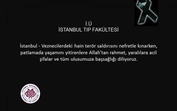 İstanbul Veznecilerdeki Patlamayla ilgili Taziye Mesajı