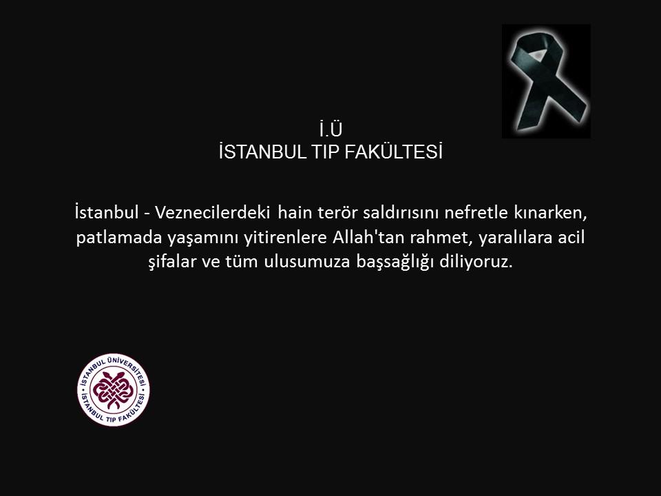 İstanbul - Veznecilerdeki Patlama Taziye Mesajı