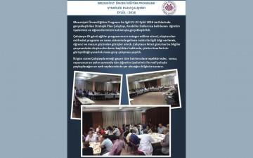Mezuniyet Öncesi Eğitim Programı Stratejik Plan Çalıştayı Eylül-2016