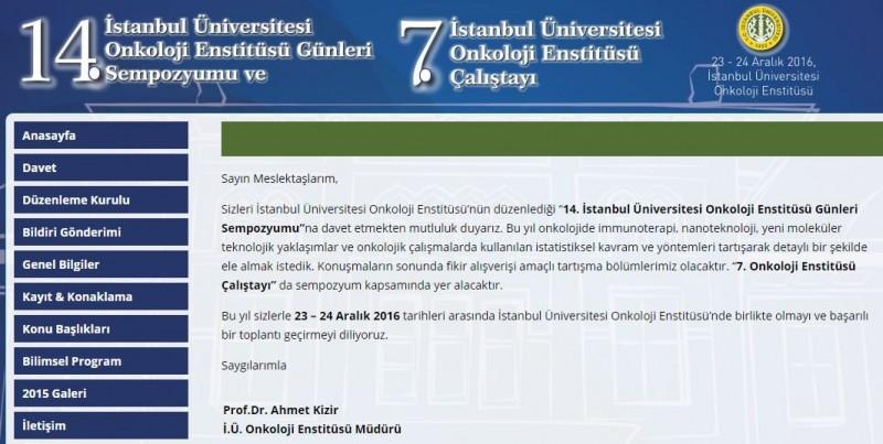 14. İstanbul Üniversitesi Onkoloji Enstitüsü Günleri Sempozyumu