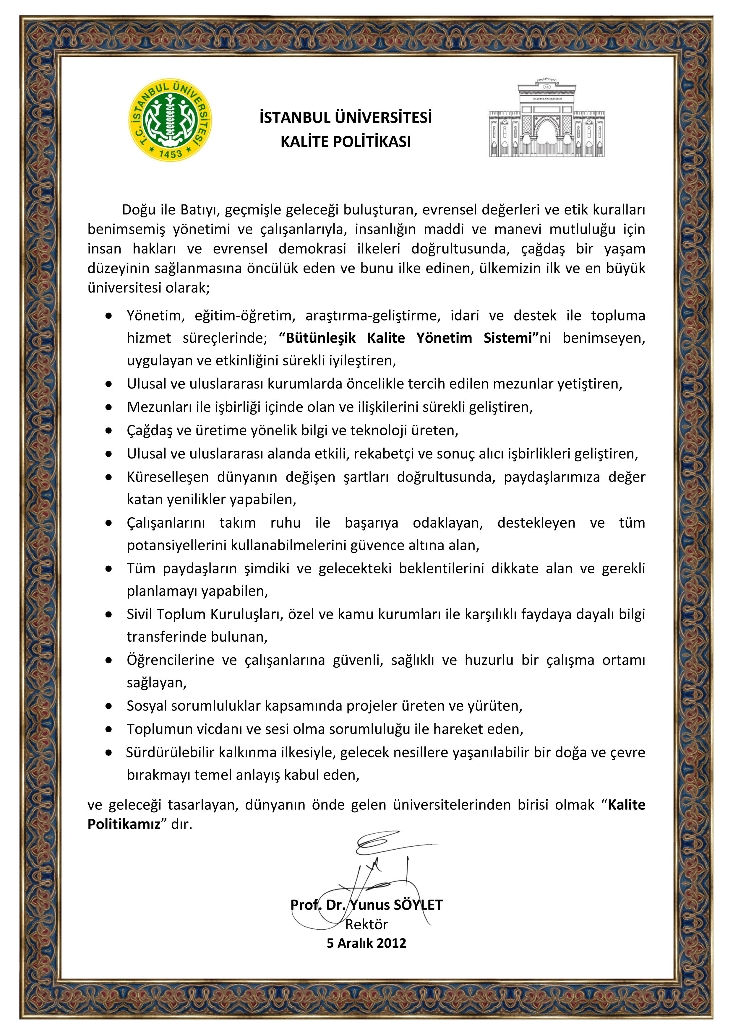 İÜ-KALİTE-POLİTİKASI