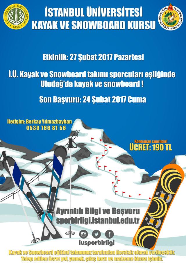 İstanbul Üniversitesi Kayak ve Snowboard Kursu