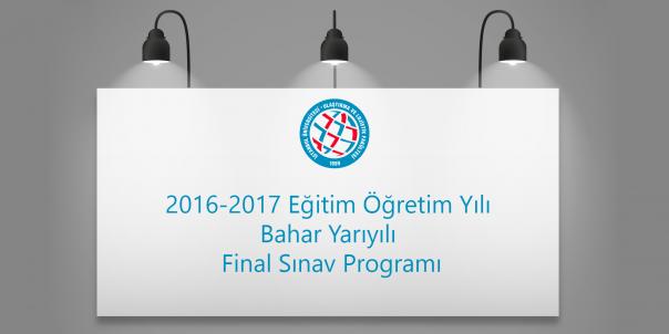 İstanbul Üniversitesi Ulaştırma ve Lojistik Fakültesi 2016-2017 Eğitim Öğretim Yılı Bahar Yarıyılı Final Sınav Programı